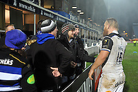 Ross Batty of Bath Rugby speaks with supporters after the match. European Rugby Champions Cup match, between Leinster Rugby and Bath Rugby on January 16, 2016 at the RDS Arena in Dublin, Republic of Ireland. Photo by: Patrick Khachfe / Onside Images