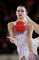 October 20, 2001; Madrid, Spain:  TAMARA YEROFEEVA of Ukraine performs with ball at 2001 World Championships at Madrid.