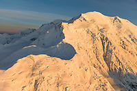 Aerial view of Pioneer ridge leading to the summit of Mt. McKinley, North America's tallest peak. Denali National Park, interior, Alaska.