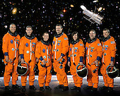 Houston, TX - (FILE) -- These seven astronauts take a break from training to pose for the STS-125 crew portrait on October 9, 2007. From the left are astronauts Michael J. Massimino, Michael T. Good, both mission specialists; Gregory C. Johnson, pilot; Scott D. Altman, commander; K. Megan McArthur, John M. Grunsfeld and Andrew J. Feustel, all mission specialists. The STS-125 mission will be the final space shuttle mission to the Hubble Space Telescope.  The STS-125 crew is scheduled to launch Monday, May 11, 2009 at 2:01 p.m. EDT aboard the Space Shuttle Atlantis for a mission to service the Hubble Space Telescope..Credit: NASA via CNP