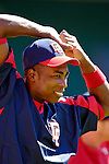 11 June 2006: Alfonso Soriano, outfielder for the Washington Nationals, stretches prior to a game against the Philadelphia Phillies at RFK Stadium, in Washington, DC. The Nationals shut out the visiting Phillies 6-0 to take the series three games to one...Mandatory Photo Credit: Ed Wolfstein Photo..