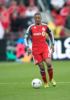 21 April 2012: Toronto FC midfielder Reggie Lambe #19 in action during a game between the Chicago Fire and Toronto FC at BMO Field in Toronto..The Chicago Fire won 3-2....