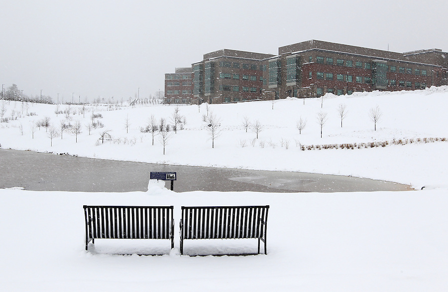 Snow blankets the area surrounding the Martha Jefferson Hospital. Photo/Andrew Shurtleff