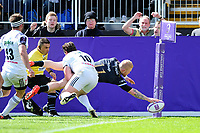 Tom Homer of Bath Rugby dives for the try-line. European Rugby Challenge Cup Quarter Final, between Bath Rugby and CA Brive on April 1, 2017 at the Recreation Ground in Bath, England. Photo by: Patrick Khachfe / Onside Images