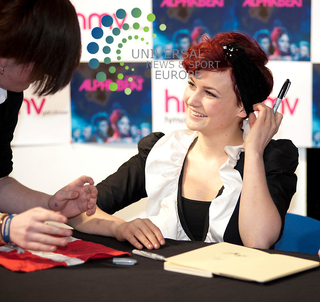 Anders SG and Stine Bramsen of Danish pop band Alphabeat perform and sign copies of their new album at the HMV store of Glasgow's Buchanan Street...HMV, Buchanan, Glasgow, G51 1EA. Picture: Euan Anderson/Universal News And Sport (Scotland) 01st March 2010.