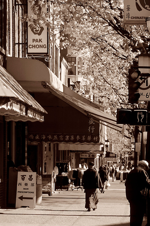 Buddhist monk walking along sidewalk on Main Street under awnings of stores in Chinatown, with trees bursting into leaf in Spring, Vancouver, BC.