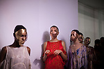 Models for the Brazilian brand, Lino Villaventura, line-up backstage at São Paulo Fashion Week for Summer Season 2013/2014, at Bienal, in Ibirapuera Park, São Paulo, Brazil, on Friday, March 22, 2013.