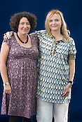 Francesca Simon, author of 'Horrid Henry', with Miranda Richardson who does the narrates the 'Horris Henry' audio-books. Edinburgh International Book Festival, Edinburgh, Scotland. Edinburgh is the inaugural UNESCO City of Literature.