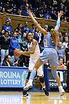 24 January 2016: Duke's Azura Stevens (left) is defended by North Carolina's Stephanie Watts (5). The Duke University Blue Devils hosted the University of North Carolina Tar Heels at Cameron Indoor Stadium in Durham, North Carolina in a 2015-16 NCAA Division I Women's Basketball game. Duke won the game 71-55.