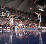 02 APR 2001:  The game's MVP Michael Dunleavy of Duke makes his third straight three pointer in the second half against Arizona during the NCAA Men's Basketball Final Four Championship game held in Minneapolis, MN at the Hubert H. Humphrey Metrodome. Duke defeated Arizona 82-72 for the championship. Rich Clarkson/NCAA Photos