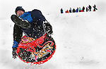 WATERTOWN, CT -03 January 2005 -010306JS01---Scott Durette of Wolcott, goes airborn as he goes down a hill on a tube at the Taft School in Watertown on Wednesday. The winter storm that passed through the area dumped more than a foot of snow in some areas of the state. Jim Shannon Republican American --  Scott Durette, Wolcott, Taft School, Watertown are CQ