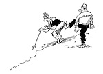 (A ski instructor pushes off a beginner down the slope)