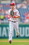 21 May 2014: Washington Nationals outfielder Nate McLouth trots back to the dugout during a game against the Cincinnati Reds at Nationals Park in Washington, DC. The Reds edged out the Nationals 2-1 to take the rubber match of their 3-game series. Mandatory Credit: Ed Wolfstein Photo *** RAW (NEF) Image File Available ***