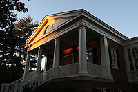 Sunlight sets upon a building at UVA