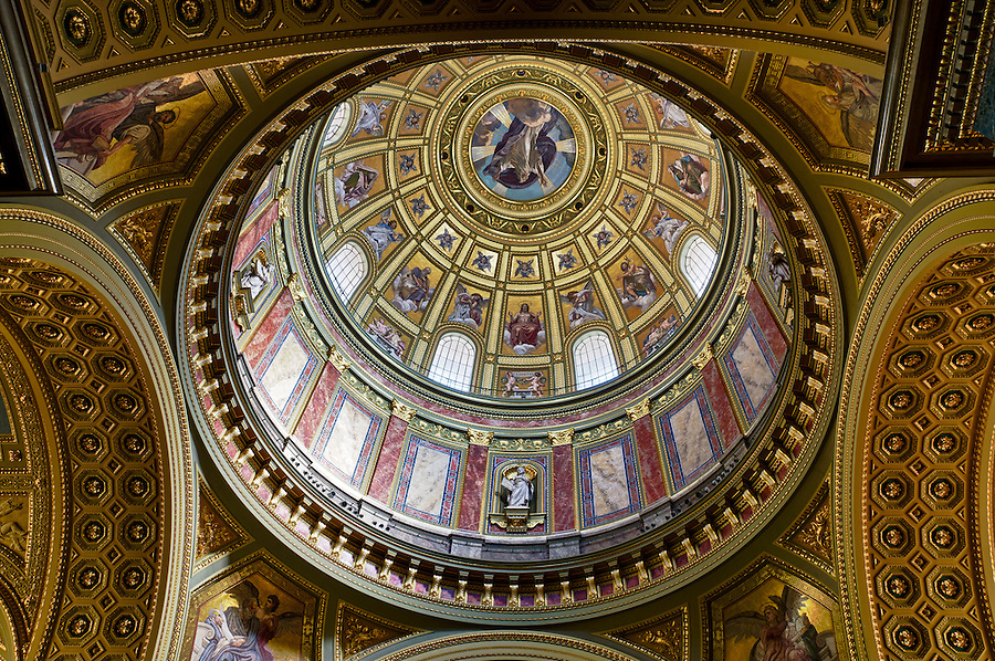 View of the interior dome of the St Stephen's Basilica in Budapest.