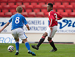 St Johnstone Academy v Manchester Utd Academy&hellip;.06.05.16  McDiarmid Park, Perth<br />Ethan Laird is closed down by Cameron Ballantyne<br />Picture by Graeme Hart.<br />Copyright Perthshire Picture Agency<br />Tel: 01738 623350  Mobile: 07990 594431