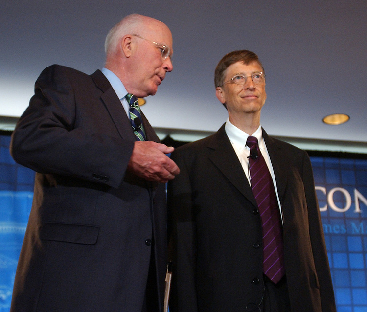 Sen. Pat Leahy, D-Vt., left, talks with Microsoft chairman, Bill Gates, before a panel discussion to kick off the Microsoft Research Tech Fair, in The Madison Building off the Library of Congress.   The event brought together goverment and universtiy officials, and high-tech industry innovators to talk about the future of technology.