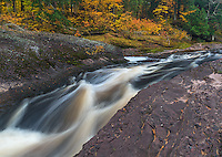Ottawa National Forest, Michigan:<br /> Black River flowing in fall forest, Black River Recreation Area, Upper Penninsula