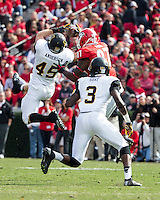 The Georgia Bulldogs beat the App State Mountaineers 45-6 in their homecoming game.  After a close first half, UGA scored 31 unanswered points in the second half.  Appalachian State Mountaineers linebacker Karl Anderson (45), Appalachian State Mountaineers defensive back Alex Gray (3), Georgia Bulldogs tight end Jay Rome (87)