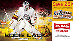 Eddie Lack Player Card for the Chicago Wolves/Little Debbie.