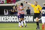 09 February 2012: Kristie Mewis (USA) (left) congratulates Sydney Leroux (USA) (right) on her goal. The United States Women's National Team defeated the Scotland Women's National Team 4-1 at EverBank Field in Jacksonville, Florida in a women's international friendly soccer match.