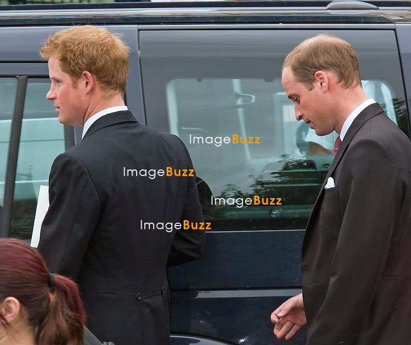 PRINCES HARRY AND WILLIAM<br /> attend the wedding of Victoria Inskip and Rob Jones-Davies at Malmesbury Abbey, Malmesbury.<br /> It was a no show for Kate who had been suffering from morning sickness recently.<br /> Victoria Inskip's brother Tom is a close friend of Princes Harry and William.<br /> UK-Malmesbury, <br /> September 27, 2014.