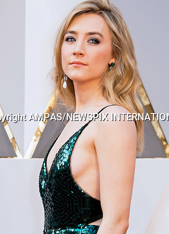 28.02.2016; Hollywood, California: 88th OSCARS - SAOIRSE RONAN<br /> attend the 88th Annual Academy Awards at the Dolby Theatre&reg; at Hollywood &amp; Highland Center&reg;, Los Angeles.<br /> Mandatory Photo Credit: &copy;Ampas/Newspix International<br /> <br /> PHOTO CREDIT MANDATORY!!: NEWSPIX INTERNATIONAL(Failure to credit will incur a surcharge of 100% of reproduction fees)<br /> <br /> IMMEDIATE CONFIRMATION OF USAGE REQUIRED:<br /> Newspix International, 31 Chinnery Hill, Bishop's Stortford, ENGLAND CM23 3PS<br /> Tel:+441279 324672  ; Fax: +441279656877<br /> Mobile:  0777568 1153<br /> e-mail: info@newspixinternational.co.uk<br /> All Fees To: Newspix International