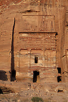 Silk tomb, one of the royal tombs, 1st century AD, Petra, Ma'an, Jordan. These tombs were carved by the Nabateans for their Kings in the face of Jabal al-Khubtha, the mountain overlooking Petra on the East. This small tomb is named for the dramatic colouring of its sandstone facade. Petra was the capital and royal city of the Nabateans, Arabic desert nomads. Picture by Manuel Cohen
