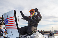 Feb 28, 2016; Chandler, AZ, USA; NHRA funny car driver Tim Wilkerson celebrates after winning the Carquest Nationals at Wild Horse Pass Motorsports Park. Mandatory Credit: Mark J. Rebilas-