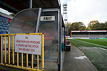 Rochdale 2 Bury 0, 15/10/2016. Spotland Stadium, League One. The away dugout at Spotland Stadium. <br />
