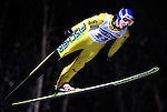 STEFAN HOCKE of Germany soars through the air during the FIS World Cup Ski Jumping in Sapporo, northern Japan in February, 2008.