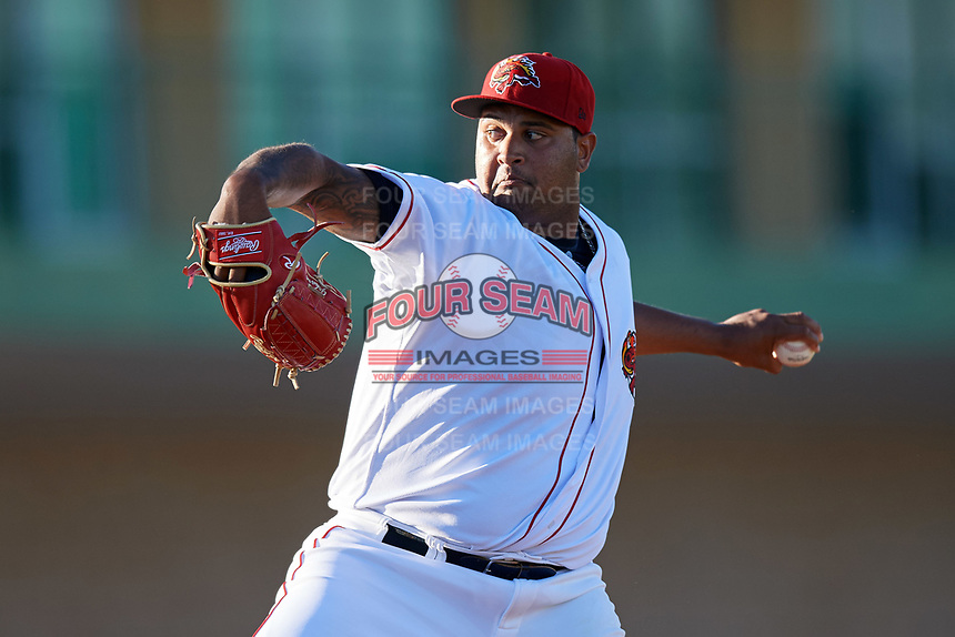 Florida Fire Frogs starting pitcher Luiz Gohara (46) delivers the first pitch of the teams inaugural game against the Daytona Tortugas on April 6, 2017 at Osceola County Stadium in Kissimmee, Florida.  Daytona defeated Florida 3-1.  (Mike Janes/Four Seam Images)