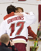 Brian Gibbons (BC - 17), Karen Gibbons - The Boston College Eagles defeated the visiting University of New Hampshire Wildcats 4-0 while celebrating senior night on Friday, March 4, 2011, at Conte Forum in Chestnut Hill, Massachusetts.