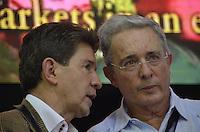 "TAMESIS, CO JULY 24: Colombian former president, opposition senator Alvaro Uribe (R) speaks with Antioquia Governor Luis Pérez Gutiérrez (L) during ""Encuentro de Dirigentes del Suroeste"" in Tamesis Antioquia on July 24, 2016.(Photo by VIEWpress/Guillermo Betancur)"