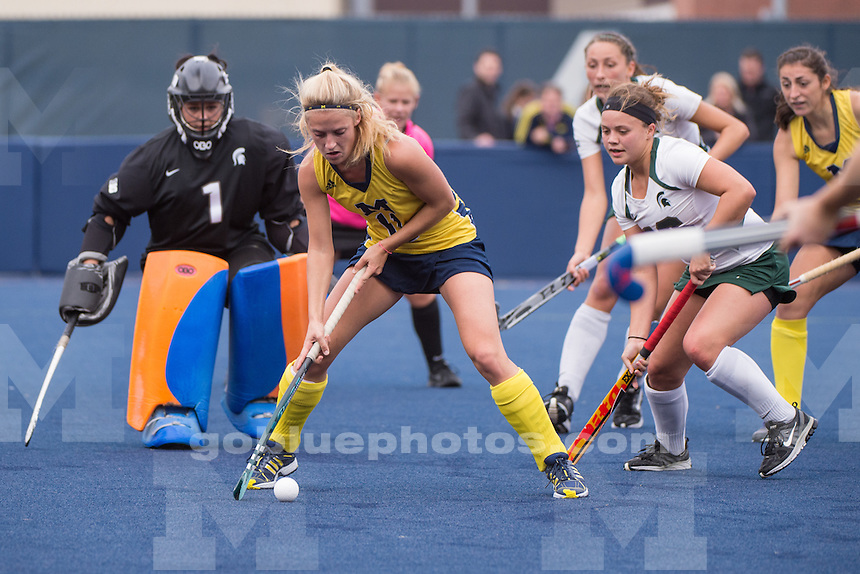 The University of Michigan field hockey team loses to Michigan State University, 2-1, at Ocker Field in Ann Arbor on Oct. 24, 2014.