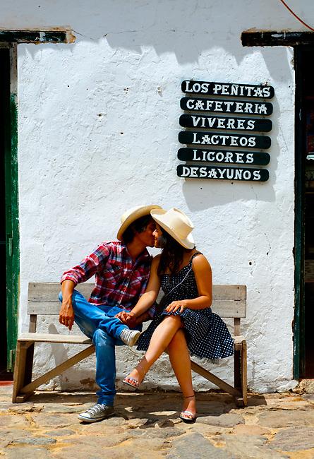 Colombia, Villa de Leyva, Boyaca Province, Colonial Town, Colombian Couple, Model Released