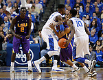 UK forward Nerlens Noel guards LSU guard Andre Stringer from UK guard Archie Goodwin during the first half of the men's basketball game vs. LSU at Rupp Arena, in Lexington, Ky., on Saturday, January 26, 2013. Photo by Genevieve Adams  | Staff.