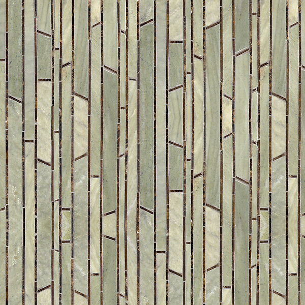 Bamboo, a hand-cut stone mosaic, shown in polished Emperador Dark and honed Verde Luna, is part of the Metamorphosis Collection by Sara Baldwin for New Ravenna Mosaics.