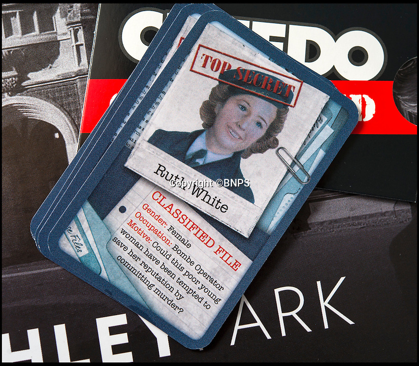 BNPS.co.uk (01202 558833)<br /> Pic: PhilYeomans/BNPS<br /> <br /> Bletchley veteran Ruth Bourne's character card.<br /> <br /> Immitation game - Top Secret Bletchley Park gets its own murder mystery game in time for Xmas.<br /> <br /> Featuring characters based on the real boffins from the wartime establishment, including Bombe machine operator Ruth Bourne who is delighted to be immortalised in the new game.<br /> <br /> Cluedo: Bletchley Park follows the same principles as the classic game everyone knows and loves, but with an 'enigmatic' twist.<br /> <br /> During the war the country estate in Buckinghamshire housed mathematicians, linguists, chess champions, egyptologists and anthropologists all secretly working to crack Enigma, the German code machine leaders in Berlin thought was unbreakable.<br /> <br /> It is said the 'ultra' intelligence produced at Bletchley shortened the war by between two and four years and saved thousands of lives.<br /> <br /> The game is now on sale in Bletchley Park's gift shop and online, priced &pound;29.99.
