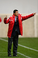 Chivas USA head coach Wilmer Cabrera. The New York Red Bulls and Chivas USA played to a 1-1 tie during a Major League Soccer (MLS) match at Red Bull Arena in Harrison, NJ, on March 30, 2014.