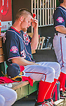 23 May 2015: Washington Nationals starting pitcher Stephen Strasburg sits in the dugout after being relieved during a game against the Philadelphia Phillies at Nationals Park in Washington, DC. The Phillies defeated the Nationals 8-1 in the second game of their 3-game weekend series. Mandatory Credit: Ed Wolfstein Photo *** RAW (NEF) Image File Available ***