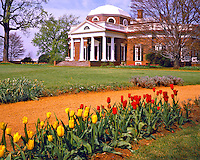 Monticello & Grounds in Spring, Home of Thomas Jefferson, State Historical Monument, Charlottesville, Virginia