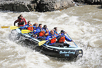 White Water raft on Snake River at Lunch Counter Rapids, near Jackson Hole, Wyoming, USA.