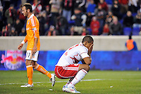 Juan Agudelo (17) of the New York Red Bulls reacts to a missed scoring opportunity. The New York Red Bulls  and the Houston Dynamo played to a 1-1 tie during a Major League Soccer (MLS) match at Red Bull Arena in Harrison, NJ, on April 02, 2011.
