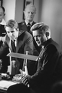 """September 1983. Miami, Florida, USA. American actors Martin Sheen and John Shea interpreting respectively John and Robert Kennedy, two brothers assassinated within 5 years of each other, in the American mini-series """"Kennedy""""."""