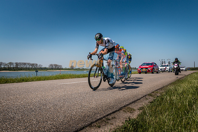 Breakaway with VAN ZYL Johann from South Africa of Team Dimension Data (RSA) on the Waaldijk at Gendt with 180 km to go, stage 3 from Nijmegen to Arnhem running 190 km of the 99th Giro d'Italia (UCI WorldTour), The Netherlands, 8 May 2016. Photo by Pim Nijland / PelotonPhotos.com | All photos usage must carry mandatory copyright credit (Peloton Photos | Pim Nijland)