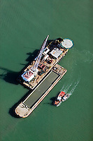 aerial photograph barges and tug boats at Port of Oakland, California
