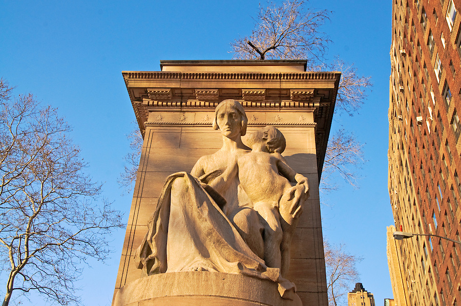 Firemen's Memorial (1913) in Riverside Park, New York City, NY, designed by H. Van Buren Magonigle, sculptures are attributed to Attilio Piccirilli, sculpture is called Duty