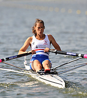 Brandenburg, GERMANY,  GBR BLW1X, Nicola SPENCER, moves away from the start at the 2008 FISA U23 World Rowing Championships, {idow], {date}, [Mandatory credit: Peter Spurrier Intersport Images]. Rowing Course: Brandenburg, Havel Rowing Course, Brandenburg, GERMANY
