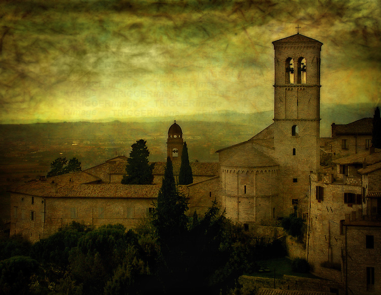 A bell tower in Umbria Italy